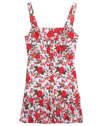 Kleid mit floralen Stickereien und Zier-Knöpfen