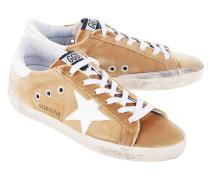 Flache Leder-Sneaker mit Samt-Besatz  // Superstar Gold Velvet