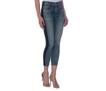 High-Rise Cropped Skinny-Jeans  // Rocket Crop Shadow Stripe