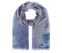 Kaschmir-Schal mit Print  // Fine Ring Aquarel Blue