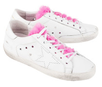 Leder-Sneakers mit Fellzunge  // Superstar White Leather Fuxia Fur