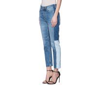 Jeans Patchwork-Look Straight High-Waist