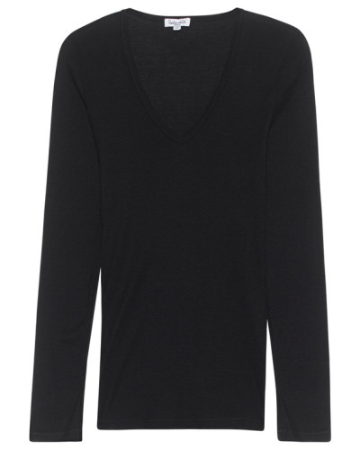 Schmales Jersey-Longsleeve  // One and One V-Neck Black
