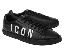 Leder-Sneaker mit Label-Wording
