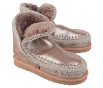 Kurze Schafsleder Stiefel  // Eskimo 18 Microglitter Pink Brown