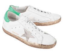 Leder-Sneakers mit Glitzersohle  // Superstar White Leather Gold