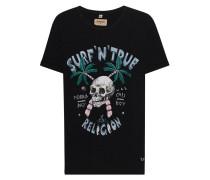Meliertes Baumwoll-T-Shirt mit Print  // Surf Skull Black