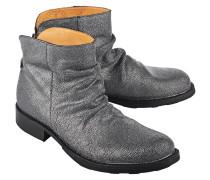 Strukturierte Leder-Boots im Metallic-Look