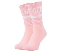 Strümpfe aus Baumwoll-Stretch  // Basic Logo Stripe Pink