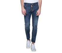 Slim-Fit Jeans mit Zipper  // M.B. Limited Zip Blue