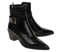 Ankle-Boots mit Snakeskin-Prägung