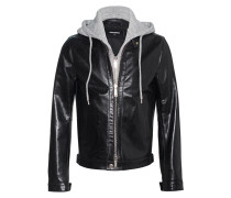 Lederjacke im Lagenlook  // Sweater Detail Leather Black