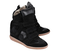 Veloursleder-Wedge-Sneakers  // Bekett Over Basket Black
