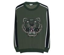 Sweatshirt mit aufgesticktem Tiger  // Tiger Khaki