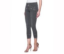 Cropped-Jeans mit Zipper-Details  // Pelona Anthracite