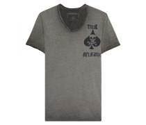 Baumwoll-T-Shirt mit Print  // Scoop Neck Chest Print Dusty Olive