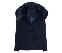 Woll-Mix-Jacke mit Fake-Fur-Kragen  // Fake Fur Saphire Blue
