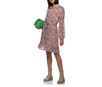 Gemustertes Hemdblusenkleid mit Taillenband