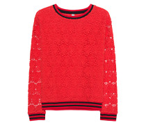 Sweatshirt mit Spitzen-Elementen  // Flower Lace Red