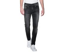Slim-Fit-Jeans mit Farbklecksen