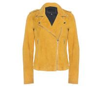 Veloursleder-Jacke  // Biker Yellow