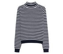 Gestreifter Rollkragen-Pullover aus Kaschmir  // Erika Navy