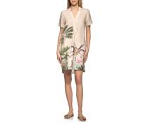 Leinen-Hemdkleid mit Dschungel-Print