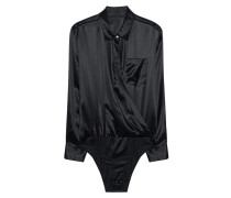 Seidenbody im Wickel-Style  // Silk Wrap Shirt Bodysuit Black