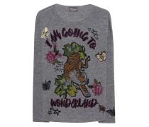 Kaschmir-Woll-Pullover mit Verzierungen  // Print and Patches Anthracite