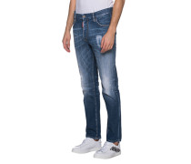 Washed-Out Straight-Fit Jeans