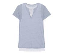 Leinen-T-Shirt  // Double Layer Ciel Grise Blanc