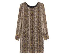 Plissee-Kleid mit Snakeskin-Musterung
