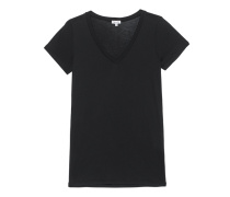 Baumwoll-Modal-T-Shirt  // Very Light Jersey V-Neck Black