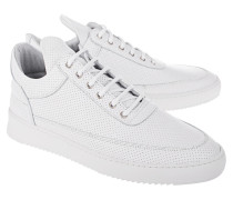 Perforierte Leder-Sneaker  // Low Top Ripple Nappa Perforated White