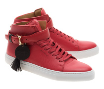 Hohe Leder-Sneakers  // 100MM Belt Red