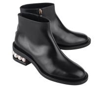 Glattleder-Boots mit Perlen-Besatz  // Pearl Calf Black