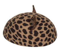 Filz-Baskenmütze mit Katzenohren  // Caterina Kitty Leopard