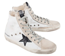 Hohe Sneakers mit Glitzerbesatz  // Francy White Silver