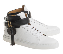 Hohe Leder-Sneakers  // 100MM Belt White