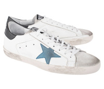 Flache Leder-Sneakers  // Superstar Blue White
