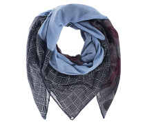 Fein gewebter Kaschmir-Schal  // Patch Dog-Tooth Check Grey/Blue