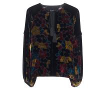 Samt Bluse mit floralem Muster  // Hawaii Velvet