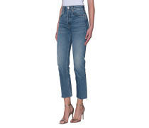 High-Rise Cropped Straight-Leg Jeans