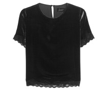 Samt-Shirt mit Spitze  // Velvet And Lace Black