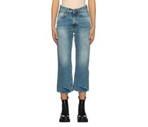 Cropped Washed-Out Straight-Leg Jeans