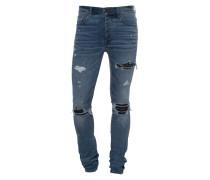 Destroyed Slim-Fit Jeans mit Leder-Details