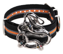 Gestreiftes Armband mit Metall-Brosche  // Snake Candy Silver Orange