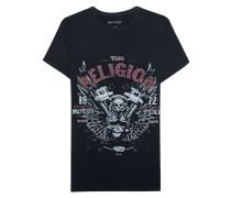 Baumwoll-T-Shirt mit Print  // Motorblock Black