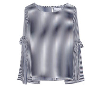 Gestreifte Viskose-Bluse  // Stripes White Blue