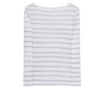 Gestreiftes Baumwoll-Mix-Longsleeve  // Basic Stripes White Grey